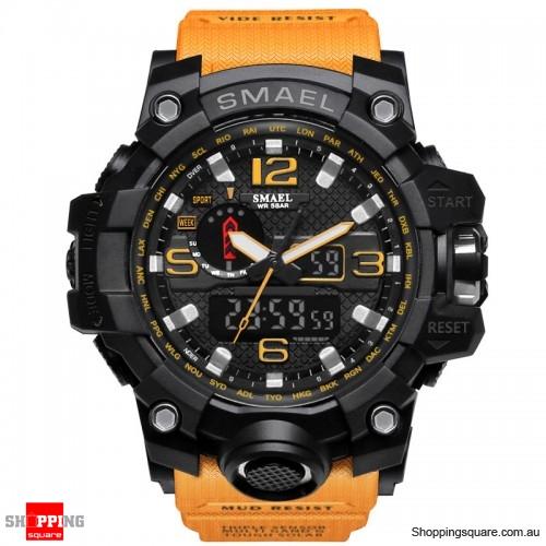 Waterproof Digital Watch Band Dual Display Sport Analog Quartz Watch - Orange