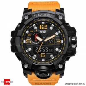 Waterproof Digital Watch Band Dual Display Sport Analog Quartz Watch - Orange