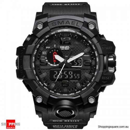 Waterproof Digital Watch Band Dual Display Sport Analog Quartz Watch - Black