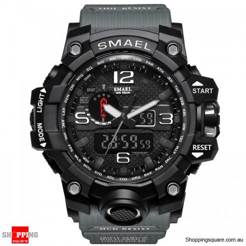 Waterproof Digital Watch Band Dual Display Sport Analog Quartz Watch - Gray