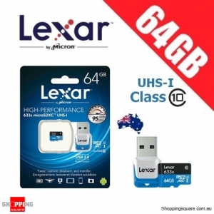 Lexar 633x 64GB High Performance microSDXC UHS-I 95MB/s + Card Reader - Manufacturer Refurbished