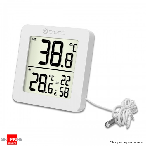 Mini LCD Digital Thermometer Indoor Outdoor Probe Temperature Time Display - Black