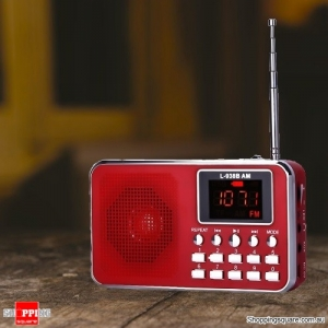 Portable Digital LCD AM FM Mini Radio Speaker MP3 Music Player AUX USB TF - Red