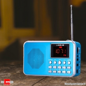 Portable Digital LCD AM FM Mini Radio Speaker MP3 Music Player AUX USB TF - Blue