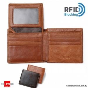 RFID Blocking Purse Genuine Leather Bifold Anti Theft Credit Card Wallet - Light Brown
