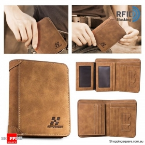 Vintage RFID Blocking Protected Trifold Wallet PU Leather ID Credit Card Holder - Coffee