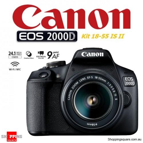 Canon EOS 2000D Kit 18-55mm IS II DSLR Digital Camera Black
