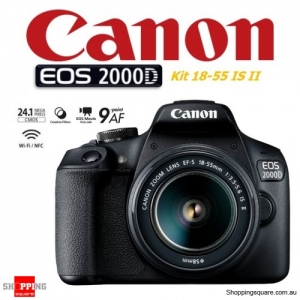 Canon EOS 2000D Kit 18-55mm IS II DSLR Digital Camera Black