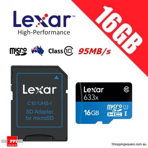 Lexar 16GB High Performance 633x microSDHC UHS-I U1 Memory Card + Adapter 95MB/s