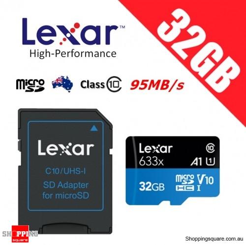 Lexar 32GB High Performance 633x microSDHC UHS-I U1 V10 A1 Memory Card + Adapter 95MB/s