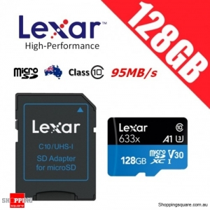 Lexar 128GB High Performance 633x microSDXC UHS-I U3 V30 A1 Memory Card + Adapter 95MB/s