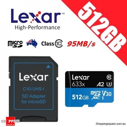 Lexar 512GB High Performance 633x microSDXC UHS-I U3 V30 A2 Memory Card + Adapter 100MB/s