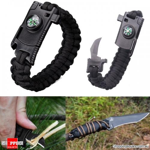 4 In 1 EDC Survival Bracelet Outdoor Emergency 7 Core Paracord with Whistle Compass Kit - Black