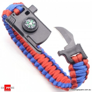 4 In 1 EDC Survival Bracelet Outdoor Emergency 7 Core Paracord with Whistle Compass Kit -Red
