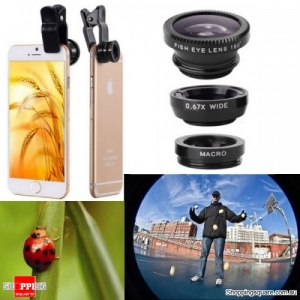 Universal Macro Clip on Camera Lens 0.67X Wide Angel 180 Degree Fish Eye For Mobile Phone