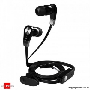 3.5mm In-ear Earphone With Mic Remote Control with clip Flat Wire - Black