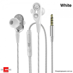 Double Moving Coil Hi-fi Bass Earphones With Mic For iPhone Android Phone - White Colour