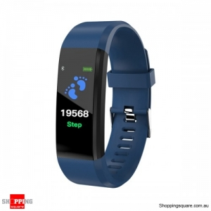 "0.96"" TFT Bluetooth Fitness Tracker Sport Smart Wristband Bracelet - Blue"
