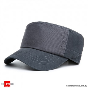 Adjustable Cotton Flat Top Hats Military Army Peaked Dad Cap Outdoor Sunscreen - Gray