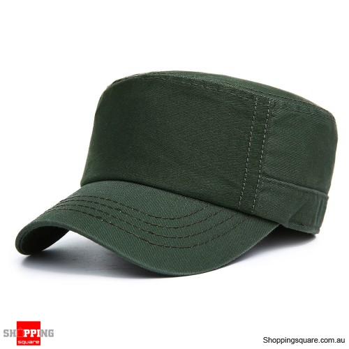 9f142f317 Mens Cotton Flat Top Hats Outdoor Sunscreen Military Army Peaked Dad  Cap-Army Green - Shoppingsquare Australia
