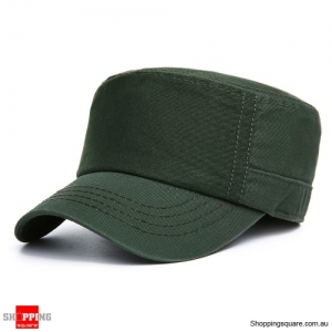 Adjustable Cotton Flat Top Hats Military Army Peaked Dad Cap Outdoor Sunscreen - Army Green