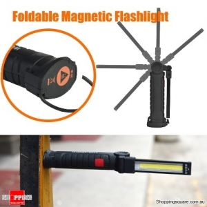 360° Rotation Foldable Rechargeable COB+LED Emergency Flashlight Worklight with Magnetic Tail