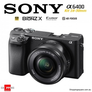 Sony A6400 Kit 16-50mm Lens E-mount 4K HDR Digital Camera DSLR Black