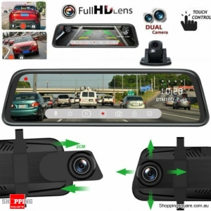10 Inch 1080P Dual Lens Car Mirror Dash Cam DVR Recorder Rear View Monitor Camera