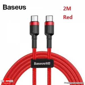 2M Baseus USB Type-C to Type-C Charger Data M-M Cable Support PD QC Fast Charging - Red