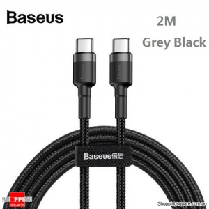 2M Baseus USB Type-C to Type-C Charger Data M-M Cable Support PD & QC Fast Charging - Grey