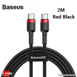 2M Baseus USB Type-C to Type-C Charger Data M-M Cable Support PD QC Fast Charging - Black