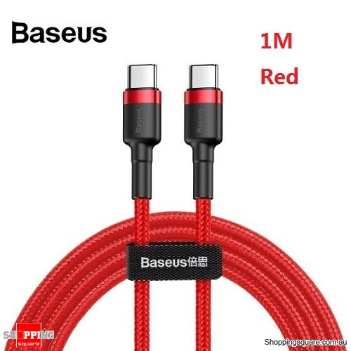 1M Baseus USB Type-C to Type-C Charger Data M-M Cable Support PD and QC Fast Charging - Red