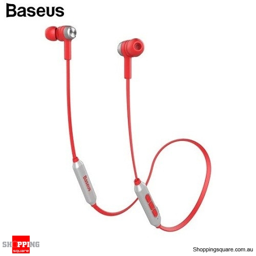 Baseus S06 Wireless Bluetooth Earphone Mobile Phone Stereo Wired Control with MIC - Red