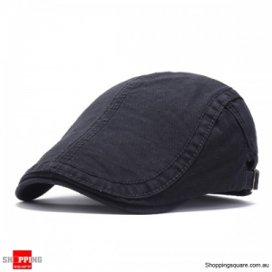 Adjustable Cotton Caps Retro Causal Outdoor Beret Hat - Black