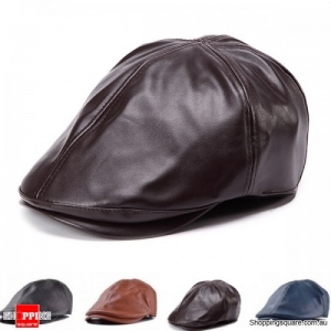 Unisex Artificial Leather PU Bonnet Newsboy Beret Cabbie Golf Hat Cap - Coffee