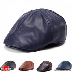 Unisex Artificial Leather PU Bonnet Newsboy Beret Cabbie Golf Hat Cap - Navy