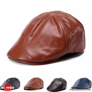 Unisex Artificial Leather PU Bonnet Newsboy Beret Cabbie Golf Hat Cap - Brown