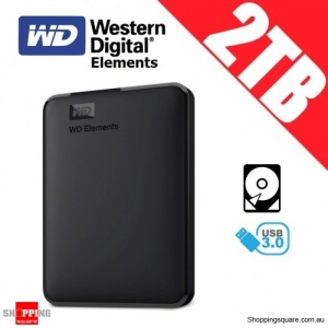 Western Digital Elements 2TB USB 3.0 Portable Hard Drive Disk PC Laptop Notebook