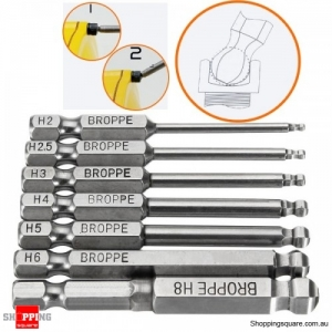 7pcs Magnetic Ball Precision Screwdriver Bits Set 1/4 Inch Hex Shank Screwdriver Bit