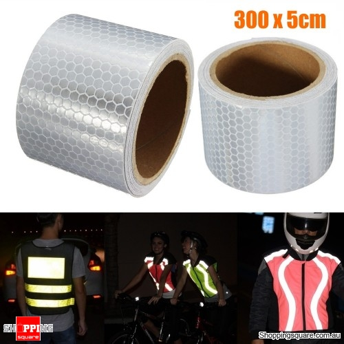 5x300m White Reflective Safety Warning Conspicuity Film Tape Sticker Silver White
