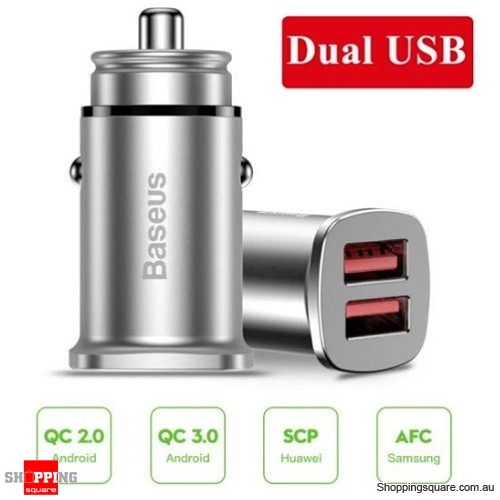 Baseus 30W Dual USB Fast Charging QC 3.0 Car Charger - Silver Colour