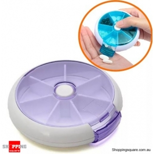 7 Compartment Pill Medicine Rotation Holder Box Organizer Container Case for Travel Office - Purple
