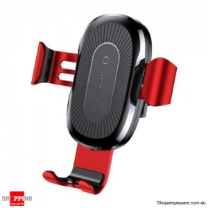 Baseus Car Mount Qi Wireless Quick Charging Pad Holder Red Colour