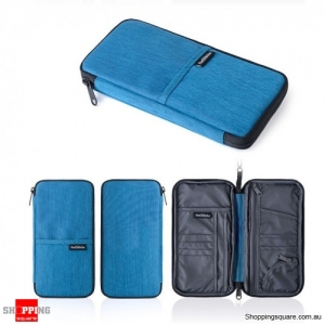 Travel Passport Card Bag Traveling Organizer Ticket Cash Wallet Pouch Holder Travel - Blue