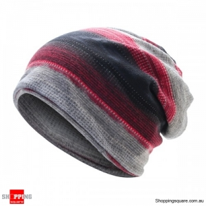 Stripes Beanie Hat Scarf Multi-function Bonnet Hat for Casual Work Autumn- Thin Black