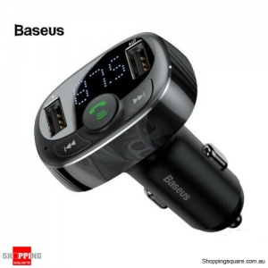 Baseus FM Transmitter Wireless Bluetooth Car Kit Radio Adapter Dual USB Charger Black Colour