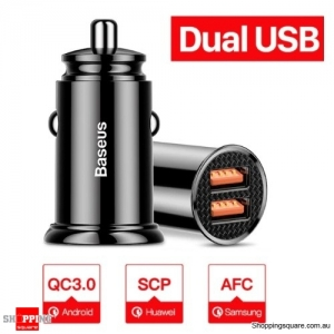 Baseus 30W Dual USB Fast Charging QC 3.0 Car Charger - Black Colour