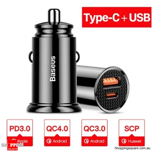 Baseus 30W Dual USB+Type-C PD Fast Charging QC 4.0 Car Charger - Black Colour
