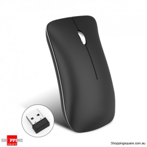 Rechargeable 2.4Ghz Wireless Mice 1600DPI 3DPI Optional Mouse for Mac Laptop PC Computer - Black