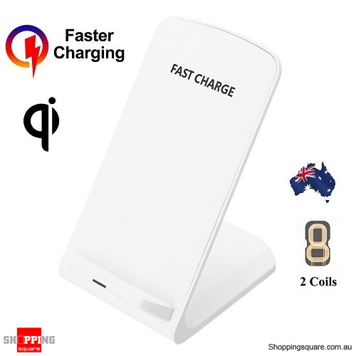 10W Wireless Qi Fast Charger Charging Stand Holder For iPhone Samsung Huawei - White Colour
